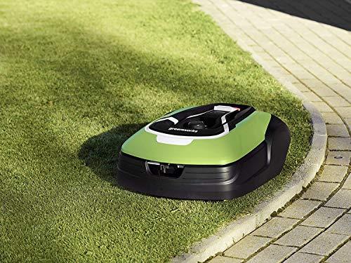Greenworks Robot Rasaerba Optimow 10 GRL110 (Tosaerba Semovente a Batteria, fino 1000m², fino 35% Pendio, 20-60 mm Altezza Taglio, 70 min Tempo Taglio, Silenzioso con Stazione Ricarica)