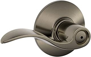 Schlage F40VACC620 Accent F40 Flat Wave Reversible Door Lever Lock, Solid, Antique Pewter, 1 Pack,