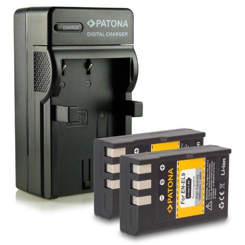 Bundle - 4en1 Cargador + 2x Batería EN-EL9 / EN-EL9a para Nikon D40 | D40x | D60 | D3000...