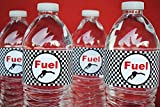 POP parties Race Car Bottle Wraps - Set of 20 Water Proof Bottle Stickers - Race Car Water Bottle Labels - Indy Party Decorations - Made in The USA