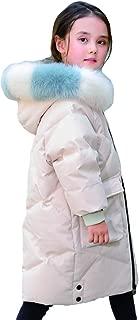 2019 New Korean Version of Children's Down Jacket, Long White Duck Down Jacket, Hooded Parker Coat Down Jacket,White,130