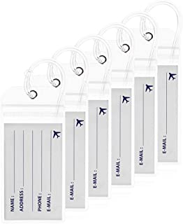 """Luggage Tags Clear Plastic Travel ID Bag Tag with Zip Top Seal&7"""" Loops for Baggage Suitcases Bags by Aurya(6 Pack)"""