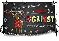 新しい250x180cm冬の醜いセーターパーティークリスマス黒の背景ライトスノーフレーク鹿と赤い粘着性のセーターホリデーデコレーション写真背景写真ブースバナー小道具用品