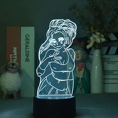 Lámpara de ilusión 3D Luz de noche LED Anime My Hero Academia Imagen de belleza Iluminación Lámpara de mesa Niños Regalo de cumpleaños para niños Dormitorio Decoración de mesa de noche