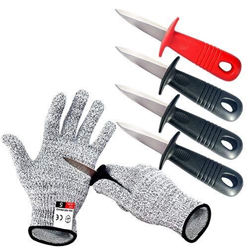 BXIO Cuchillo para ostras con guantes resistentes a cortes, abridor de ostras...
