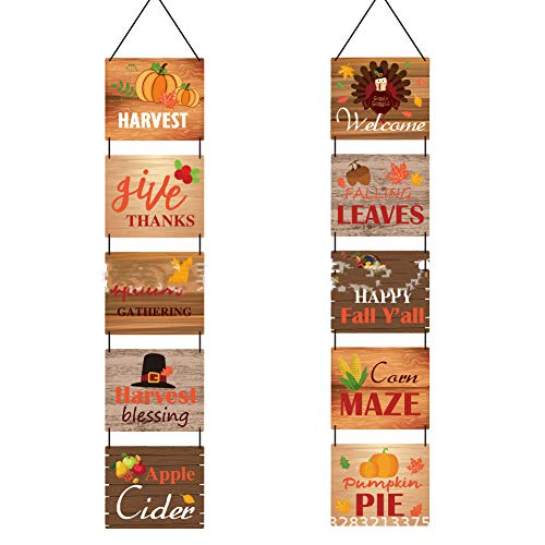 Weilifang Paper Fall Porch Sign Autumn Front Door Banner Paper Fall Porch Flag Hanging Pendant Home Yard Party Decors