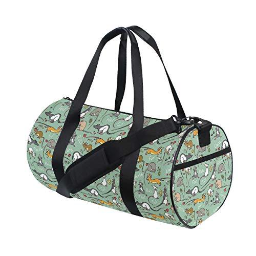HARXISE Bolsa de Viaje,Pollo de Dibujos Animados Lindo con Flores y Mariposas,Bolsa de Deporte con Compartimento para Sports Gym Bag