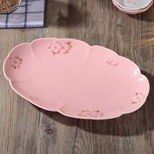 MLDSJQJ Nueva pequeña Cereza Fresca Esmalte Ovalado de cerámica Alta Temperatura fortificada Sushi Pastel de salmón Placa de decoración de Frutas,Pink,31cmX20cmX3cm
