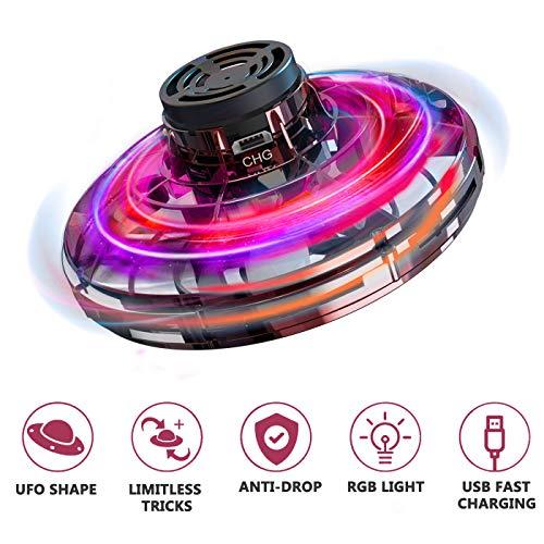 Mini UFO Drone Giocattolo,Aereo di Volo Ricaricabile con LED splendente per Bambini Droni Controllati a Mano per Adulti Giocattoli Interattivi All\'aperto per Interni per la Decompressione Dell\'ufficio