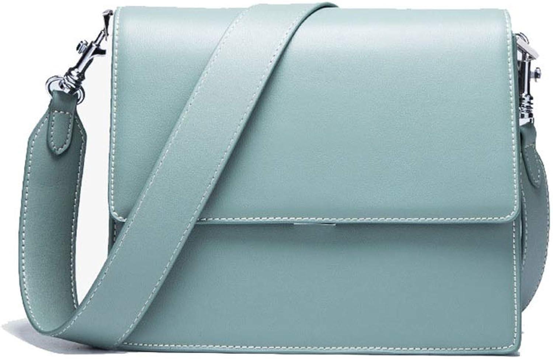 LBYMYB European and American Leather Wide Shoulder Strap Shoulder Bag Hand Bag (color   bluee)