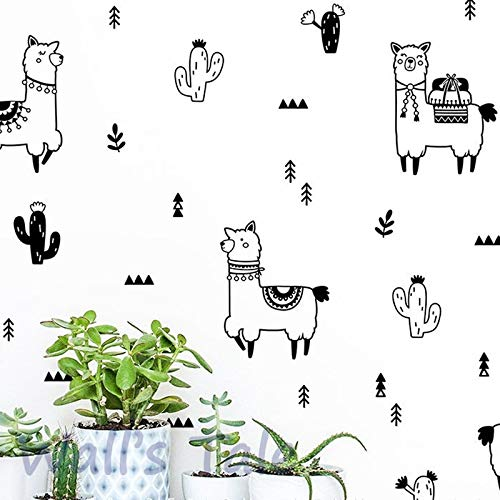 Atiehua Stickers Muraux Mignon Alpaga Et Cactus Stickers Muraux Décor De Pépinière Diy Belle Lama Cactus Art Autocollant Maison Bébé Chambre Murale Décoration