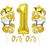 Bluelves Palloncini Compleanno 1 Anno, Palloncini d'oro 1, Palloncino Numero 1, Palloncini Pompleanno Oro, Compleanno Palloncini in Lattice Coriandoli Palloncini Kit