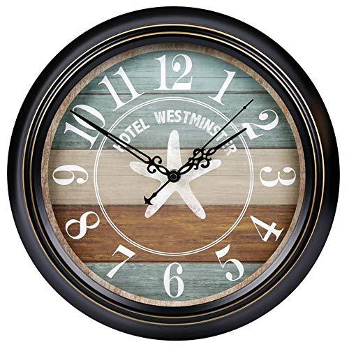 LCHY TB - Reloj de pared redondo europeo, retro, con batería silenciosa, no tejida, estilo mediterráneo, decorativo, salón, relojes, dormitorio