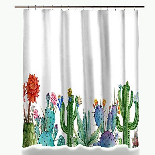 GVDFSEYL douchegordijn, groene potplanten, cactus, vetplanten, printen, douchegordijn, polyester, waterdicht, badgordijn, met 12 haken