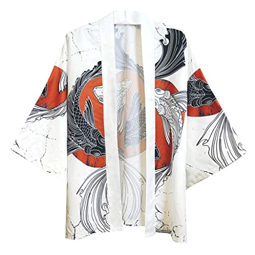 Fantastic Prices! Mens Jacke Top Summer Japanese Five Point Sleeves Kimono Cardigan Floral Printed C...