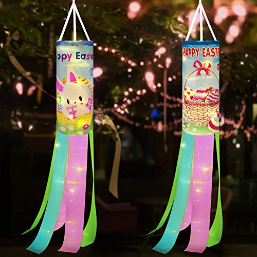 2 Pieces Happy Easter Windsock Easter Egg Bunny Rabbit Windsock Polyester Garden Windsock Decorative with LED Wire Light for Easter Party Hanging Home Outdoor Decoration