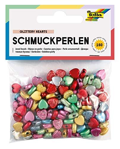 Folia Bringmann Perles décoratives 'coeurs' - lot de 160 - assortiment de couleurs
