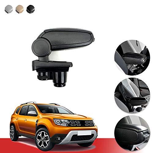 OMAC Accoudoir central compatible avec Dacia Duster II 2018-2021 | Accessoires de voiture noir Couvercle Accoudoir Porte-gobelet Console
