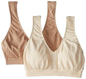 Bali Women s Comfort Revolution Seamless Crop Top 2 Pack Light Beige/Nude Medium