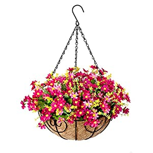 Silk Flower Arrangements Homsunny Artificial Hanging Flowers with Basket, Fake Silk Daisy Flowers in 12 inch Coconut Lining Hanging Baskets for The Decoration of Courtyard, Outdoors, and Indoors (Pink)