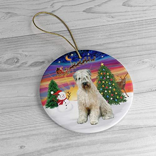Wheaten Terrier in'Santa's Sunset Take Off' Heirloom Ceramic Ornament Exclusive Keepsake Porcelain ornament Style Ceramic Decoration - 3 Inch