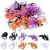 WXJ13 120 piezas Halloween araña anillo calavera murciélago araña anillos fiesta Favores para Halloween decoración