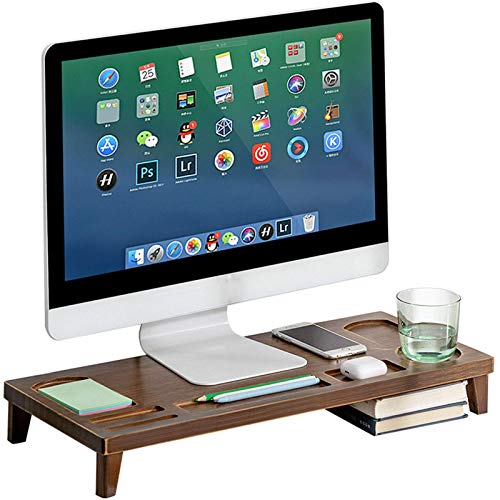FGDSA Bamboo Computer Riser Desk, Monitor Stand Riser, Ergonomic Laptop Stand Computer for Laptop, Computer, PC, Printer, Screens,Wood color
