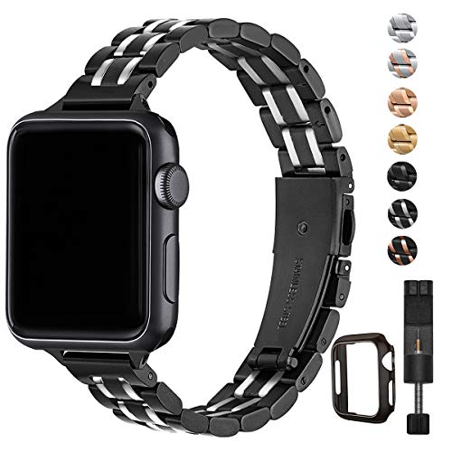 HEKAI Armband Kompatibel mit Apple Watch Armband 38mm 42mm 40mm 44mm Metall,Schlank Verstellbare Edelstahl Ersatzbänder für die iWatch Serie 5/4/3/2/1 (38mm 40mm, Schwarz&Silber)