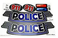 The Toy Restore Black & Blue Police Cop Car Door 911 Light Replacement Stickers Spare Decals Fits Li...