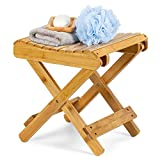 ETECHMART 12 Inch Folding Bamboo Step Stool for Shower, Leg Shaving and Foot Rest, Fully Assembled Wooden Spa Bath Chair for Adults Kids Disabled Women Elderly