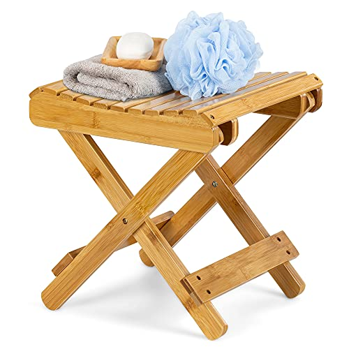 """ETECHMART 12"""" Folding Bamboo Step Stool for Shower, Leg Shaving and Foot Rest, Fully Assembled Wooden Spa Bath Chair"""