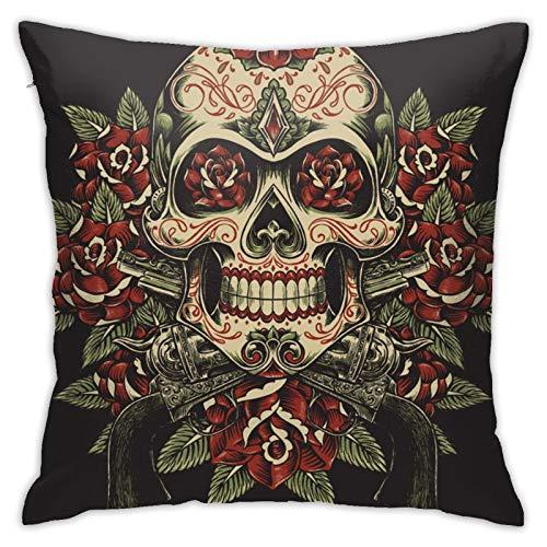 Funda de almohada cuadrada con diseño de calavera y rosas con revólveres, para sofá, dormitorio, oficina, 45,72 x 45,72 cm