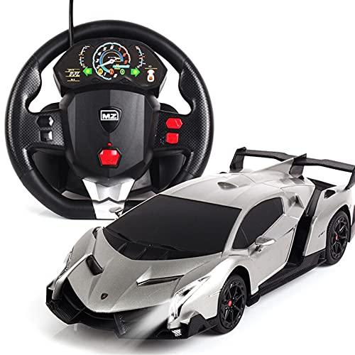 RC 1:24 Sesto elegante fresco modelo de automóvil carro con batería para niños para niños volante por gravedad detectando control remoto modelo de carga modelo de vehículo playe 3+ años niños pequeños