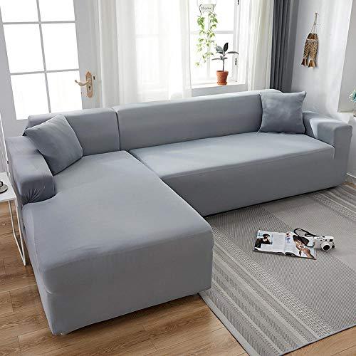 Fundas de Sofá 2 plazas y 4 plazas, Fundas elásticas de Licra, Funda para sofá, Toalla elástica para sofá, Fundas para sofá de Esquina para Sala de Estar, Gris Claro