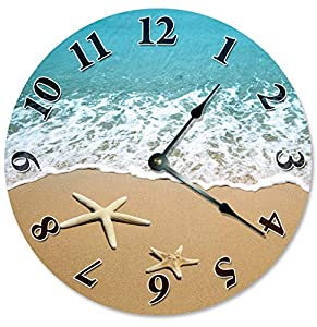 "STARFISH AT SHORELINE Beach Clock Large 10.5"" Wall Clock Decorative Round Circle Clock Home Decor Novelty Clock SHELLS SAND BEACH HOUSE"
