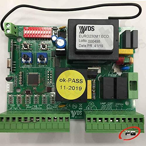 Placa de control VDS EURO 230 M1 ECO + Receptor + Encoder. Cuadro de maniobras para motores de corredera, basculantes y barreras.