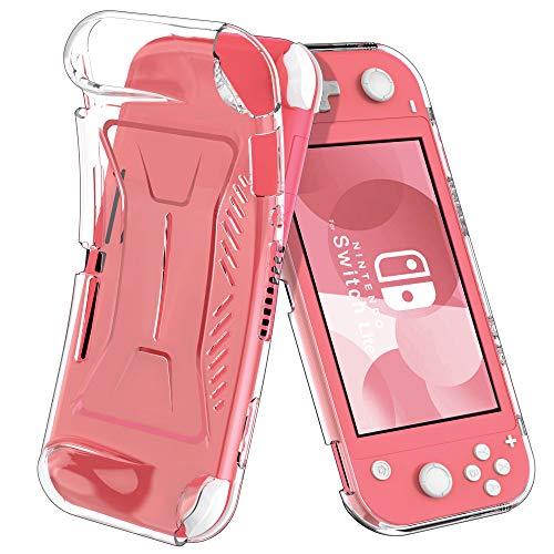 ELTD Custodia Cover per Nintendo Switch Lite, Pelle con Funzione di Stand Flip Copertina Smart Case Cover per Switch Lite, Transparente