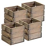 Maceta de madera rústica, madera de granero/blanqueamiento con revestimiento de plástico, decoración de jardín, restaurante, decoración de boda, centro de mesa