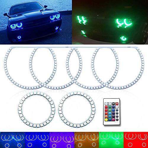 6pc RGB LED Angel Eyes Halo Ring Demon Eye Kit For Dodge Challenger Headlight Fog Light