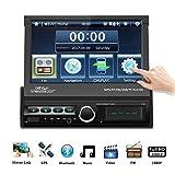 1 DIN Radio de Coche, Podofo GPS Bluetooth Autoradio con 7' motorizado 1024 * 600 HD Pantalla Táctil, AUX, TF, USB, FM, Camara Marcha atras