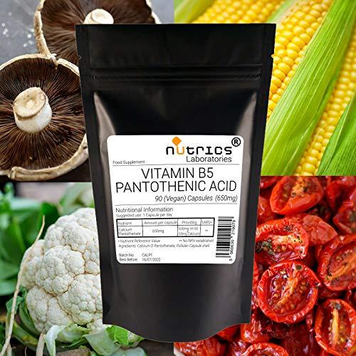 Nutrics 600mg Vitamin B5 Pantothenic Acid Calcium D |360 Vegan Capsules (1 Year Supply) |Made in The UK by Nutrics Laboratories |Suitable for Vegan Vegetarian Halal Kosher