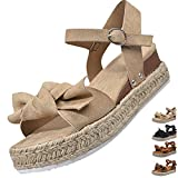 Cuidado Sandale Plateforme Femme Eté Sandale Femme Espadrilles CompenséEs Noeud Papillon Mode Couleur Unie Léopard Noir