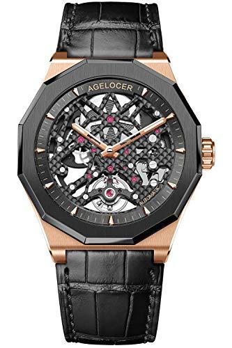 Agelocer Top marca de lujo Top marca negro esqueleto automático mecánico goma banda luminoso reloj analógico, Nk_6001h1,