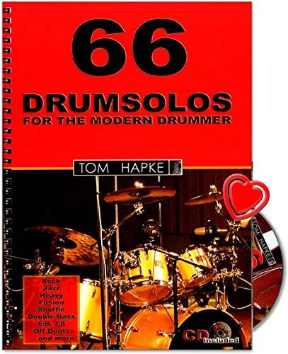 66 Drumsolos for the modern Drummer - riesige Inspirationsquelle für jeden Schlagzeuger - von Anfänger bis Profi - Lehrmaterial von Tom Hapke mit CD, Notenklammer - BOE7019 9783936026405