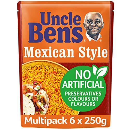Uncle Bens Mexikanischer Stil Mikrowellen-Reis, Großpackung 6 x 250 g Beutel