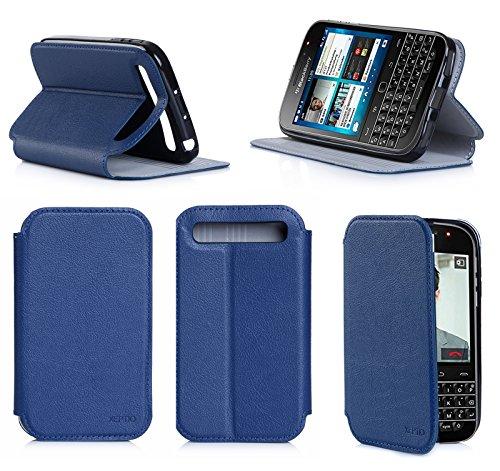 BlackBerry Classic (Q20) Ultra Slim case Blue Navy - Flip Leather Folio Case/Cover and TPU Smartphone BlackBerry Classic 4G LTE 2014/2015 PU Leather Protective case Accessories - Blue