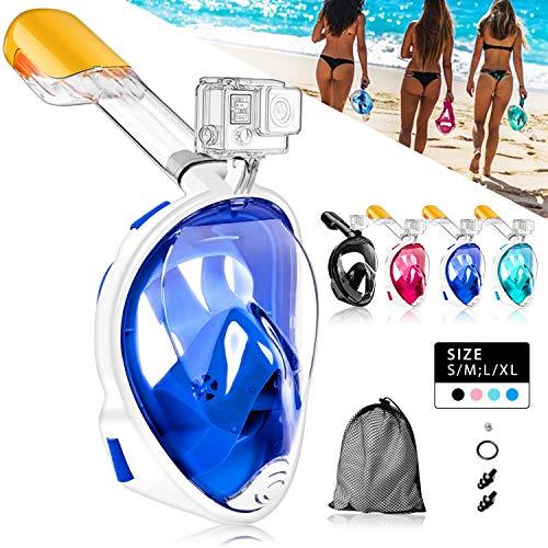 HINATAA Máscara de Buceo, 180°Panorámica Máscara de Snorkel de Cara, Anti-vaho Anti-Fuga,con Tapones con Tapones para los oídos Impermeables,GoPro Mount Easy Breathe para Adultos,Niños (Azul, S M)