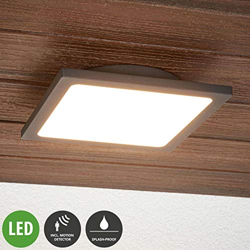 Lampenwelt LED Deckenleuchten 'Mabella' mit Bewegungsmelder (Modern) in Schwarz aus Aluminium (1 flammig, A+, inkl. Leuchtmittel) - Außenleuchte für Garten, Terasse, Balkon & Haus, LED-Deckenleuchte
