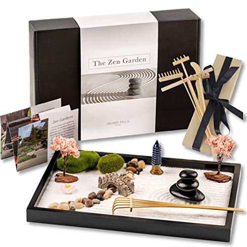 Island Falls Home Zen Garden Kit -11x8 inch Beautiful Premium Japanese Mini Rock Garden Meditation...