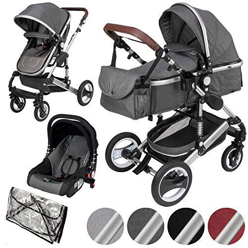 ib style® SOLE 3 in 1 Kombi Kinderwagen | inkl. Auto Babyschale | Zusammenklappbar | inkl. Regen- & Mückenschutz | 0-15kg |Grau/Gestell: Silber